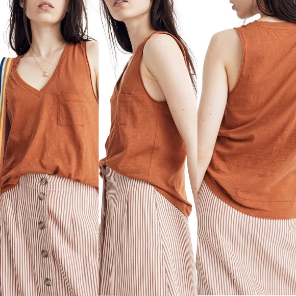 Madewell Whisper Cotton Tank in Burnt Clay